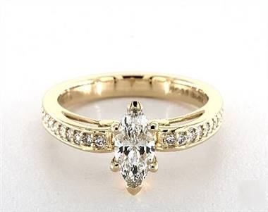 Femine Scroll-Design Vintage Pave Engagement Ring in 14K Yellow Gold 3mm Width Band (Setting Price)