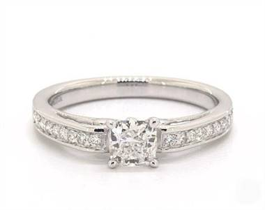 Femine Scroll-Design Vintage Pave Engagement Ring in 3mm Platinum (Setting Price)