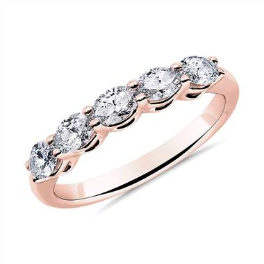 """Five Stone East-West Oval Diamond Wedding Ring in 14k Rose Gold - I/SI2 (3/4 ct. tw.)"""