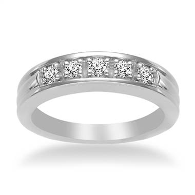 Five Stone Men's Diamond Band in 18K White Gold (1/2 cttw.)