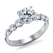 Floating Diamond Engagement Ring with Shared Prong in Platinum (3/4 cttw.) | B2C Jewels