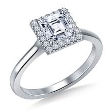 Floating Diamond Halo Engagement Ring in 18K White Gold | B2C Jewels
