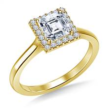 Floating Diamond Halo Engagement Ring in 18K Yellow Gold | B2C Jewels