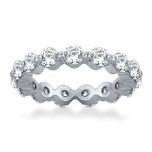 Floating Round Diamond Eternity Ring in 18K White Gold (2.10 - 2.55 cttw.) | B2C Jewels