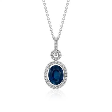 """Floating Sapphire and Diamond Oval Twisted Pave Pendant in 18k White Gold (9x7mm)"""