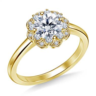 Floral Halo Petite Diamond Engagement Ring in 14K Yellow Gold
