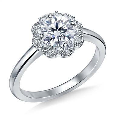 Floral Halo Petite Diamond Engagement Ring in 18K White Gold