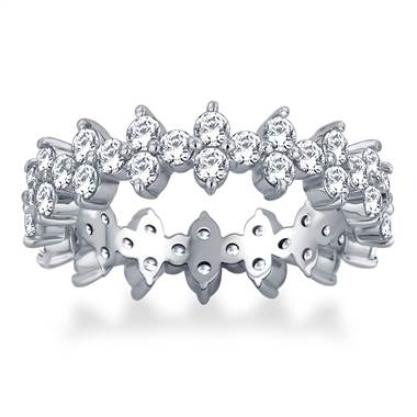 Floral Prong Set Round Diamond Eternity Ring in 18K White Gold (2.10 - 2.40 cttw.)