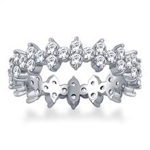Floral Prong Set Round Diamond Eternity Ring in 18K White Gold (2.10 - 2.40 cttw.) | B2C Jewels