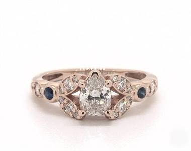Floral-Side-Stone & Sapphire Accent Engagement Ring in 14K Rose Gold 2.2mm Width Band (Setting Price)