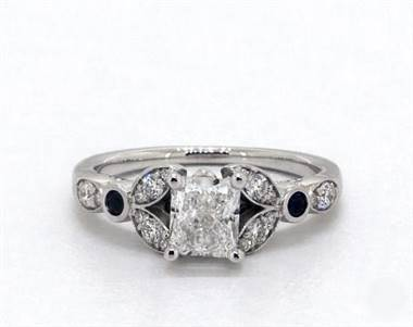 Floral-Side-Stone & Sapphire Accent Engagement Ring in Platinum 2.2mm Width Band (Setting Price)
