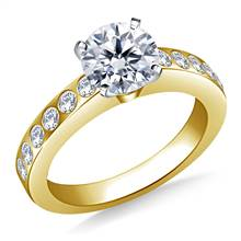 Flush Set Diamond Engagement Ring In 14K Yellow Gold (1/3 cttw) | B2C Jewels