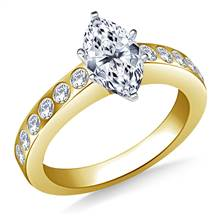 Flush Set Diamond Engagement Ring In 18K Yellow Gold (1/3 cttw) | B2C Jewels