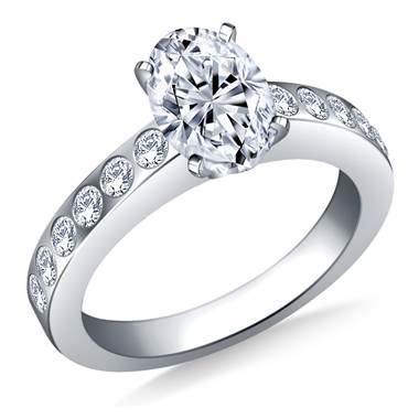Flush Set Diamond Engagement Ring In Platinum (1/3 cttw)