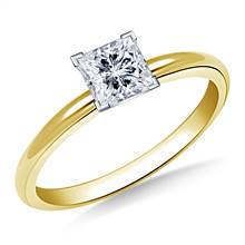 Four Prong Pre-Set Princess Diamond Solitaire Ring In 14K Yellow Gold | B2C Jewels