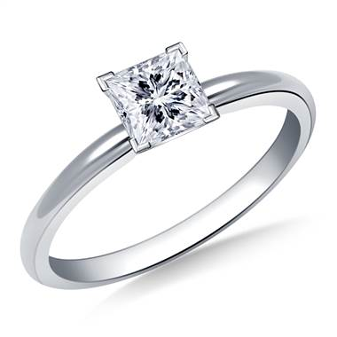 Four Prong Pre-Set Princess Diamond Solitaire Ring In 18K White Gold