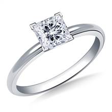 Four Prong Pre-Set Princess Diamond Solitaire Ring In 18K White Gold | B2C Jewels