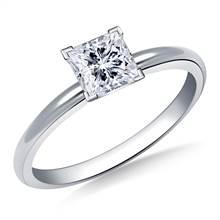 Four Prong Pre-Set Princess Diamond Solitaire Ring in Platinum | B2C Jewels