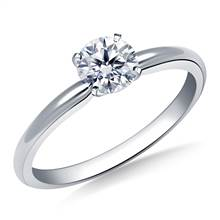 Four Prong Round Pre-Set Diamond Solitaire Ring In 14K White Gold | B2C Jewels