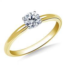 Four Prong Round Pre-Set Diamond Solitaire Ring In 14K Yellow Gold | B2C Jewels