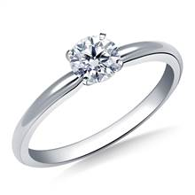 Four Prong Round Pre-Set Diamond Solitaire Ring In 18K White Gold | B2C Jewels