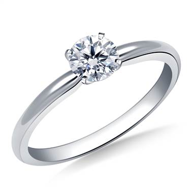 Four Prong Round Pre-Set Diamond Solitaire Ring In 18K White Gold