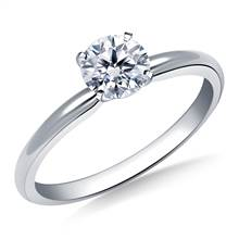 Four Prong Round Pre-Set Diamond Solitaire Ring In 18K White Gold   B2C Jewels