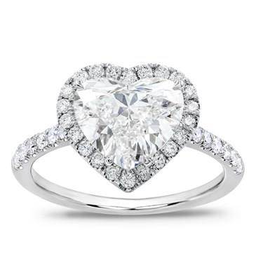 French Cut Pave Heart Halo Engagement Setting