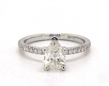 French Cut Petite Pave Flush Fit Engagement Ring in Platinum 4mm Width Band (Setting Price)