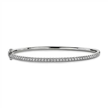 """French Pave Diamond Bangle in 14k White Gold (1 ct. tw.)"""