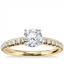 French Pave Diamond Engagement Ring in 14k Yellow Gold (1/4 ct. tw.)   Blue Nile