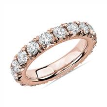 French Pave Diamond Eternity Ring in 14k Rose Gold (3 ct. tw.) | Blue Nile