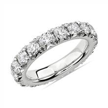 French Pave Diamond Eternity Ring in 14k White Gold (3 ct. tw.) | Blue Nile