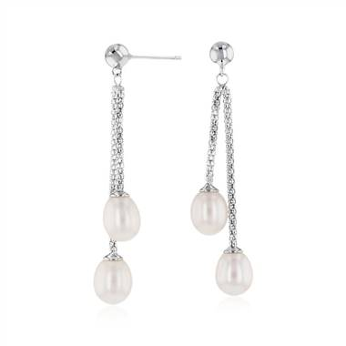 """Freshwater Cultured Pearl Double Drop Earrings in Sterling Silver (7.5-8mm)"""