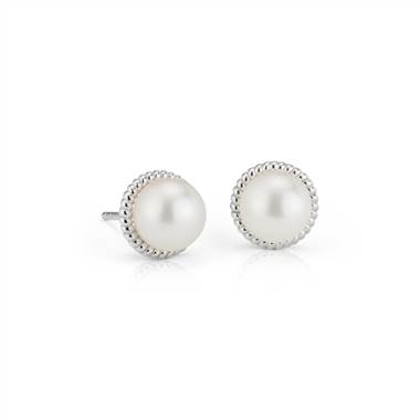 Freshwater Cultured Pearl Rope Earrings in Sterling Silver (7mm)