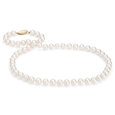 """Freshwater Cultured Pearl Strand with 14k Yellow Gold (7.0-7.5mm)"""