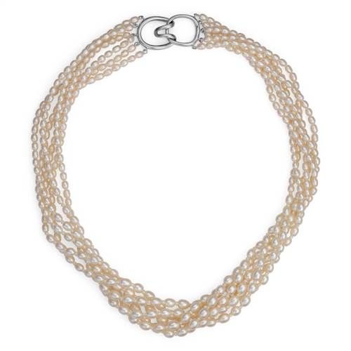 Freshwater Cultured Pearl Toursade Necklace with Sterling Silver (3.5mm)