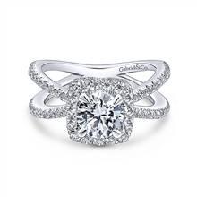 Gabriel & Co. 14K White Gold Cushion Halo Round Diamond Engagement Ring | Gabriel & Co.