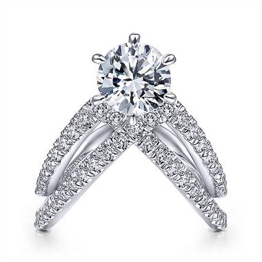 Gabriel & Co. 14K White Gold  Free Form Round Diamond Engagement Ring