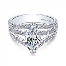 Gabriel & Co. 14K White Gold Marquise Shape Split Shank Diamond Engagement Ring | Gabriel & Co.