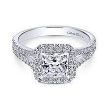 Gabriel & Co. 14K White Gold Princess Halo Diamond Engagement Ring | Gabriel & Co.