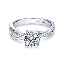 Gabriel & Co. 14K White Gold Round Bypass Diamond Engagement Ring | Gabriel & Co.