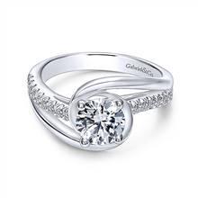 Gabriel & Co. 14K White Gold Round Bypass Diamond Engagement Ring | Gabriel & Co.