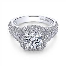 Gabriel & Co. 14K White Gold Round Diamond Engagement Ring   Gabriel & Co.
