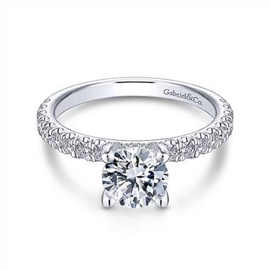 Gabriel & Co. 14K White Gold Round Diamond Engagement Ring
