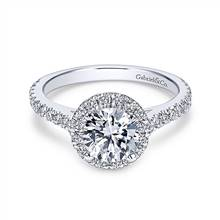 Gabriel & Co. 14K White Gold Round Halo Diamond Engagement Ring   Gabriel & Co.
