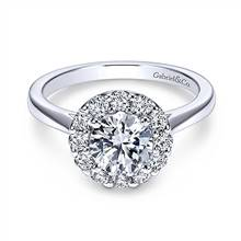 Gabriel & Co. 14K White Gold Round Halo Diamond Engagement Ring | Gabriel & Co.