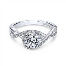 Gabriel & Co. 14K White Gold Round Halo Diamond Engagement Ring | Gabriel & Co.