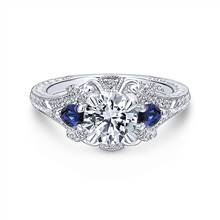 Gabriel & Co. 14K White Gold Round Sapphire and Diamond Engagement Ring | Gabriel & Co.