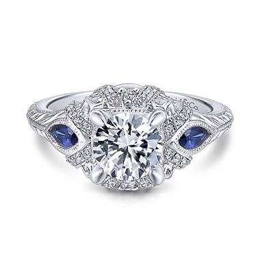 9d7b682348a27 Gabriel & Co. 14K White Gold Round Sapphire and Diamond Engagement Ring
